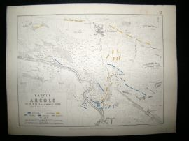 Battle of Arcole, Italy: 1848 Antique Battle Plan. Johnston